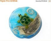 ON SALE 50% OFF Turtle Cove Lentil Focal 11834702 - Handmade Glass Lampwork Bead