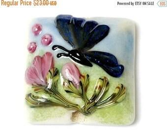 ON SALE 35% OFF Handmade Glass Lampwork Bead - Blue Sparkle Garden Butterfly Pillow Focal Bead 11835004