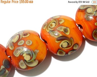 ON SALE 40% OFF Seven Coral w/Beige Lentil Beads-11102702-Handmade Lampwork Glass Beads