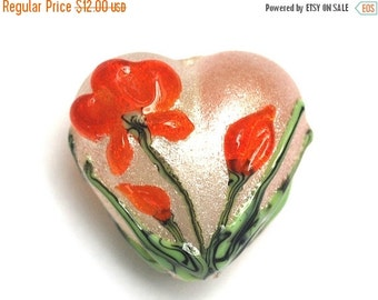 ON SALE 40% OFF Vermilion Flower Heart Focal Bead - Handmade Lampwork Bead - 11832205