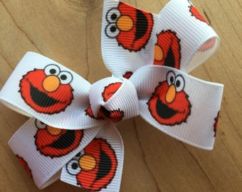 Sesame Street Elmo Inspired Hair Bow - Elmo, Cookie Monster, Big Bird, Party Favor, Sesame Street Birthday, Elmo Party, Sesame Street Party,