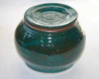 "Turquoise Stoneware Jar   OOAK  Multipurpose Lidded Jar Glossy Glaze 6"" high by 6.25"" at widest diameter"