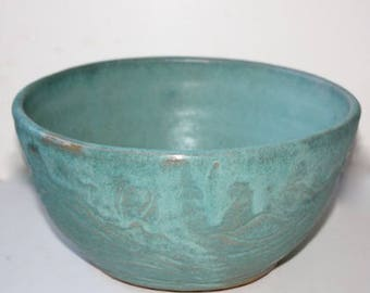 Aqua Stoneware Bowl Multipurpose for Serving and  Prep One of a Kind