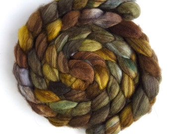Mixed BFL Wool Roving, Hand Painted Spinning or Felting Fiber, 4 ounces, Moss on Rocks