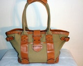J.Crew military look business style tote bag purse canvass + glazed leather vintage 90s spacious unique rare very clean inside out