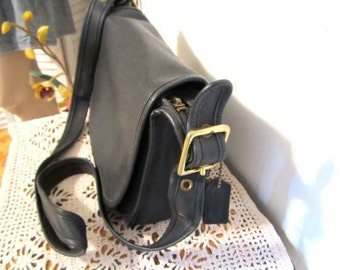 COACH Leather Saddle Bag style Crossbody in Black  Leather