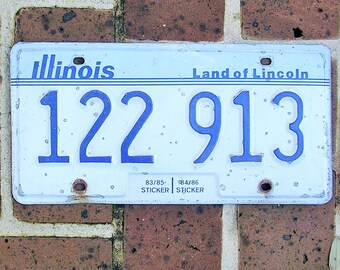 Vintage Metal License Plate Illinois License Plate Tag Land of Lincoln License Plate Vintage License Tag Blue and White