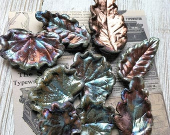232. Wondrousstrange Raku Nine Summer Midnight Blue Copper Gold Rust Leaf Cabochons/Tiles
