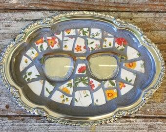 Vintage Broken China Mosaic Tray - Eye Glasses Small Trinket Tray
