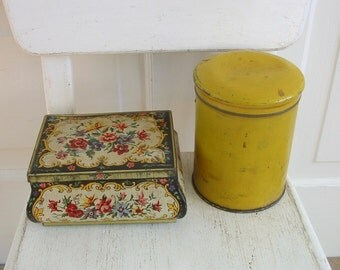 PAIR Vintage Metal Biscuit Tins, Metal Box, Yellow Tin, Vintage Candy Tin, Vintage Storage, Floral Tin, Vintage Candy Tin