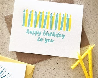 Happy Birthday To You birthday candles hand-drawn letterpress card