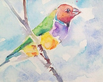 original watercolor painting ACEO goudian finch  ,2.5x3.5 inches