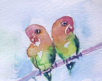 original watercolor painting ACEO love birds ,2.5x3.5 inches