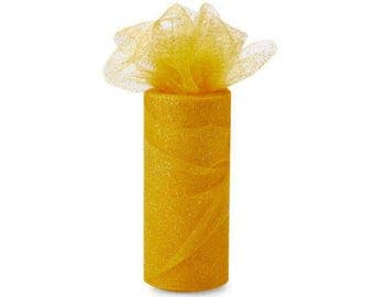 54 x 10 yd  Bolt of Top Quality  GLITTER Tulle Bolt --Gold