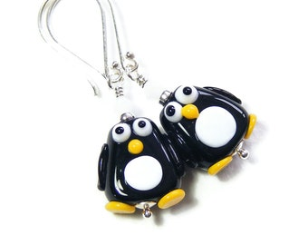 Cute Penguins Earrings, Handcrafted Lampwork Glass & Sterling Silver, Black and White Fun Character Jewellery