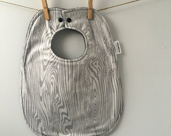 Gender Neutral Baby Gift - Woodgrain Baby Bib - Bibs with Snaps - Bib with Snap Closure - Unisex Baby Gift