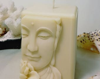 """Buddha Close-up w/Lotus - 3 1/2"""" Handmade Scented Beeswax Candle"""