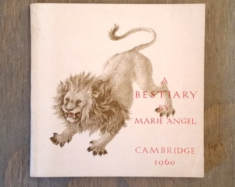 Vintage Book A Bestiary by Marie Angel, 1960