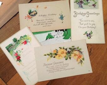 Vintage Birthday Postcard Lot Unused Including E Weaver