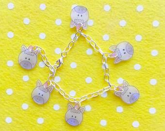 Kawaii Magical Unicorn charm bracelet in pink and lilac