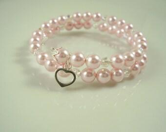 Pink Flower Girl Bracelet - Flower Girl Bracelet with Heart Charm - Pink Flower Girl Girfts - Gifts for Flower Girls - For Granddaughter's
