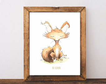 Be Clever - Woodland Fox Print - Nursery / Kids Room