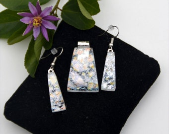 Fused dichroic glass pendant and earring set, transparent, silver, hearts, red, yellow