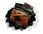 Johnny Cash recycled 1964 album cover wood coasters with warped vinyl record bowl gift idea for her
