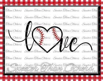 Baseball SVG love Softball htv Tshirt Design Vinyl  (SVG and DXF Files) Electronic Cutting Machines, Silhouette, Cameo, Cricut, Instant Down