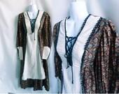 Vintage 70s Dress Size S Hippie Boho Prairie Maxi Corset Cotton Black Gunne Sax