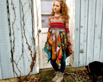 OOAK Wearable Art Bohemian Reconstructed Bohemian Tunic Top// Sedona Sunset// Large// Multi Colored// emmevielle