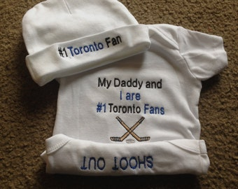 Toronto Maple Leafs Hockey Team  Baby Onesie Creeper Hat Set Personalized