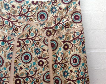 1990s, 90s Silk A-Line Skirt, Appliqués Boho Floral Print, Beige, Coffee, Teal, Coral Lime, Small