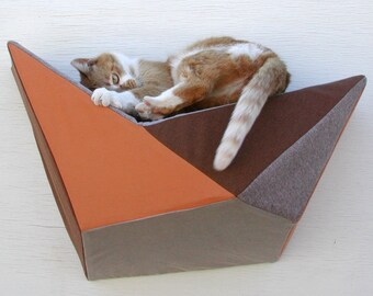 Modern wall bed geometric cat shelf in soft rust, grey, taupe & brown