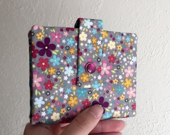 Pretty Colorful Floral Wallet - Midsize Cash and Card Wallet with Change pouch