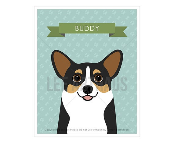 4N Dog Prints - Personalized Tricolor Corgi Wall Art - Corgi Prints - Corgi Lover Gift - Dog Gift Ideas - Pet Portrait - Dog Drawing