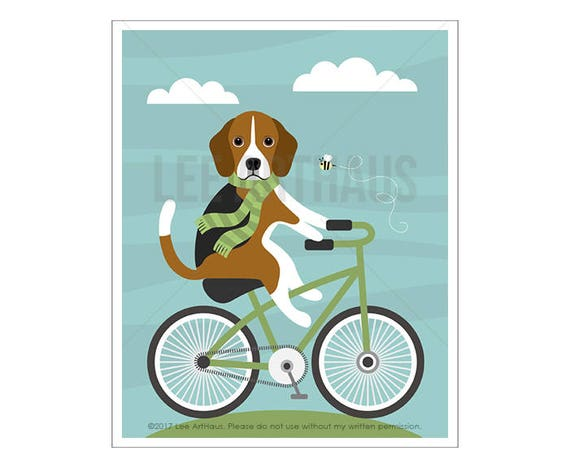 122D Bicycle Art - Beagle Dog on Bicycle Wall Art - Dog Print - Green Bicycle Print - Beagle Print - Modern Animal Art - Beagle Drawing