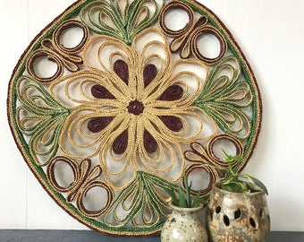 large flower trivet - woven wall hanging - boho basket wall - purple green