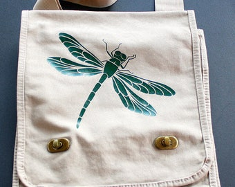 DISCOUNTED Due to minor imperfection - Dragonfly Messenger Field Bag - Green Vinyl Letters - Khaki - Inside Zipper Pocket