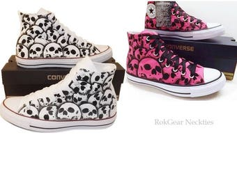 RokGear hand painted Skull Converse His and Hers wedding shoes unique - 2 pair Made to order by RokGear