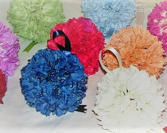 "Kissing ball Wedding flowerball 5"" Dahlia Kissing balls for Weddings church pew decorations wedding pomander balls silk flower centerpieces"
