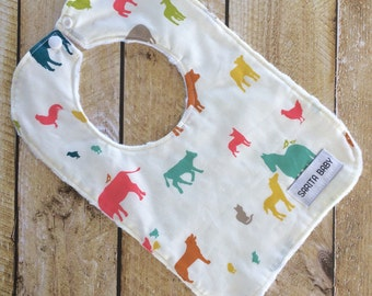 Baby Bib - Organic Bib - Bib - Baby Gift - Baby Shower Gift - Farmyard Bib - Organic Baby Bib
