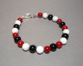 RESERVED Custom Listing for Doug - Black Onyx Red Coral and Howlite Gemstone Bracelet