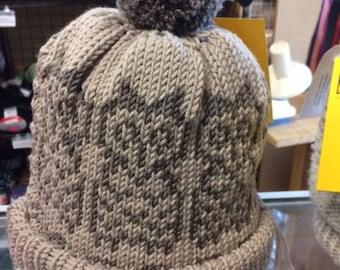 Owl Always Love you, owlette hat, pom pom, handmade adult hat, made in USA