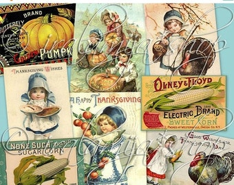 SALE HAPPY THANKSGIVING Collage Digital Images -printable download file-