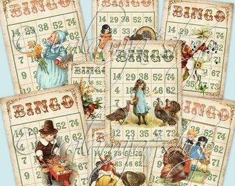 SALE THANKSGIVING BINGO CARdS Collage Digital Images -printable download file-