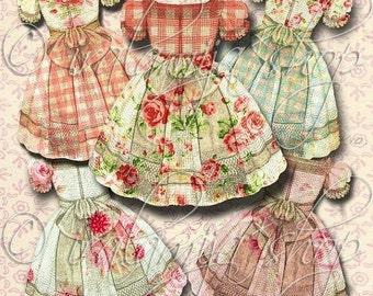 SALE VINTAGE DRESS Collage Digital Images -printable download file Scrapbook Printable Sheet