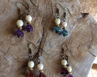 FANCY ME  antiqued brass wirework spiral tulip dangle earrings