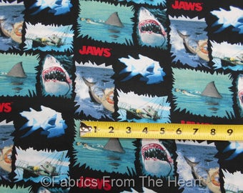 Jaws Shark Movie Ships Torn Patchwork on Black BY YARDS Springs Cotton Fabric