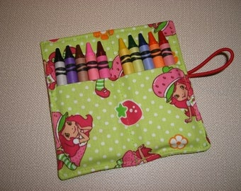 Crayon Rolls . Party Favor . Strawberry Shortcake